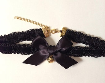 Black Velvet Trim Choker with Bow and Bell