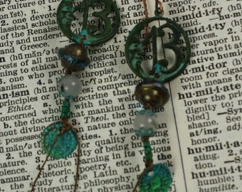 Lucky Number Thirteen Gypsy Bohemian Charm Dangle Earring