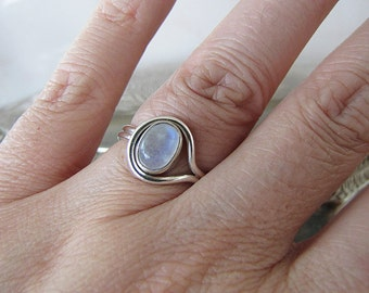 Modern Rainbow Moonstone Sterling Silver Ring, size 5.25