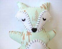 Mint Fox Stuffed Animal - Woodland Nursery Toy