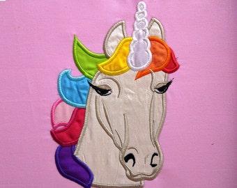 Unicorn head applique  - machine embroidery designs applique Rainbow unicorn embroidery  INSTANT DOWNLOAD