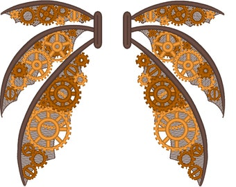 Stempunk wings, steampunk gears collection, gear, gear steam-punk embroidery designs 5*7 and 6*10