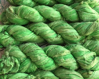 2 for 20 Neon Green Recycled Sari Silk Ribbon Yarn, Mojito, 3.5 oz , 50 yards each, Upcycled, Recycled, Crochet, Knit, Jewelry, Craft, Weave