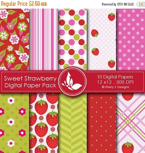 40% off Sweet Strawberry Paper Pack - 10 Printable Digital Scrapbooking papers - 12 x12 - 300 DPI