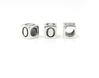 Number Beads Sterling Silver 4mm Number Block 'Zero'  - 1pc 3mm Inside Diameter (4027)/1