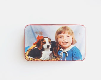 French Vintage Tin Box, Dogs, Baby Girl Box