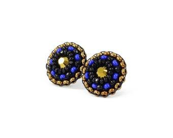Black stud earrings   cobalt earrings   blue earrings   gold stud earrings   unique gift for her   bohemian earrings   delicate boho studs