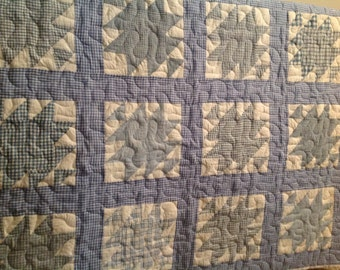 """Vintage GINGHAM quilt squares (hand quilted) made into a new quilt (then, machine quilted)approx. 51"""" square"""