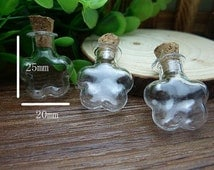 10 pcs 25x20mm Transparent Glass  Wishing Bottles Flower Shape