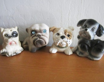Vintage Lot of Dog Figurines Bull Dogs Plus More