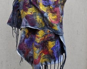 Beautiful shawl, felted scarf, silk, wool, felted, gift, fiber art, brown, yellow, purple, white, grey