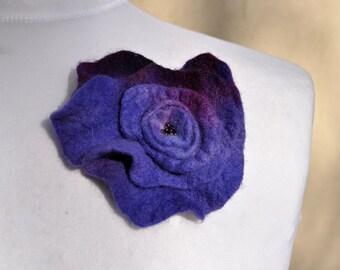 Felt flower, brooch, flower,  beads, purple