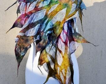 Beautiful shawl, Felted scarf, silk, wool, nuno felt scarf, felted, gift, fibre art, purple, pink, green, yellow, blue