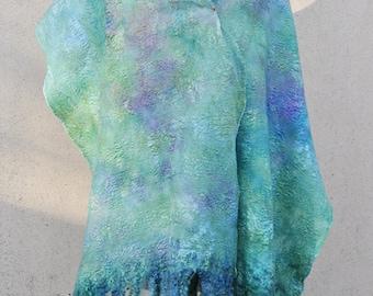 Beautiful shawl, felted scarf, silk, wool, felted, gift, fiber art, white, green, purple