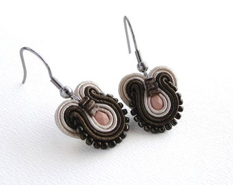 Brown Earrings Brown Dangle Earrings Brown Drop Earrings Soutache Earrings Peach Dangle Earrings Small Drop Earrings Peach Earrings Textile