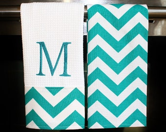 Monogrammed  Kitchen Towels or Hand Towels in Turquoise  Chevron | Housewarming Gift | Hostess Gift | Gifts for Her | Wedding