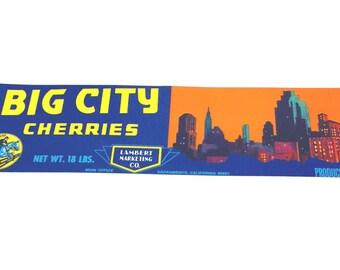 Vintage New Old Stock Unused BIG CITY Cherries Vegetable / Fruit Crate Label
