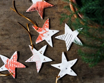 porceialn star tree decorations, christmas star ornaments, white gold red, traditional handmade tree ornaments, christmas tree decor