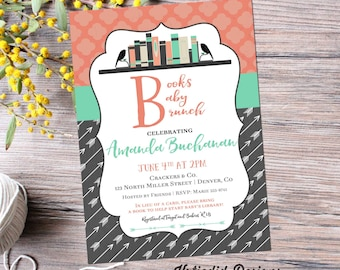 bring a book baby shower invitation tribal BOHO chic arrow sprinkle mint green coral rustic theme books baby brunch gray 1363 bookshelf