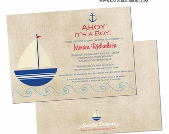 nautical baby shower invitation baby boy sail boat sprinkle diaper baptism couples coed christening bash (item 1251) shabby chic invitations