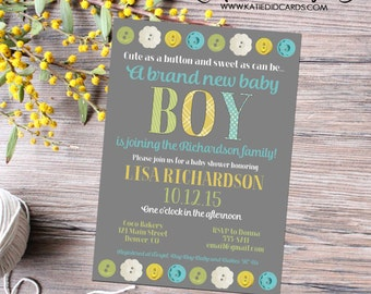 cute as a button baby shower invitation gender neutral sprinkle diaper couples diapers prebaby