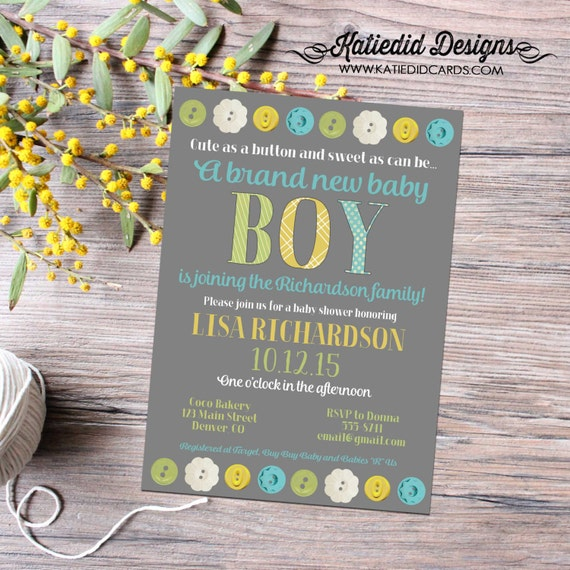 boy oh boy invitation Cute as a button baby shower rustic baby boy shower twin babies shower co-ed baby shower with love 12113 Katiedid Card