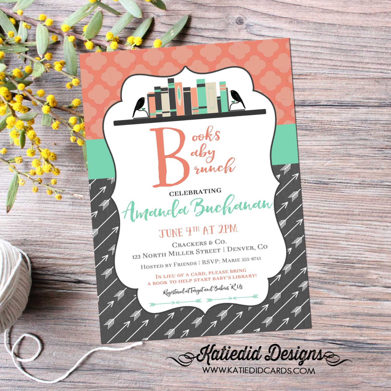 Bring A Book Baby Shower Invitation Tribal BOHO Chic Arrow