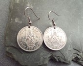 Scottish Coin Earrings British Silver Coins, one Shilling 1951 Birthday Gift
