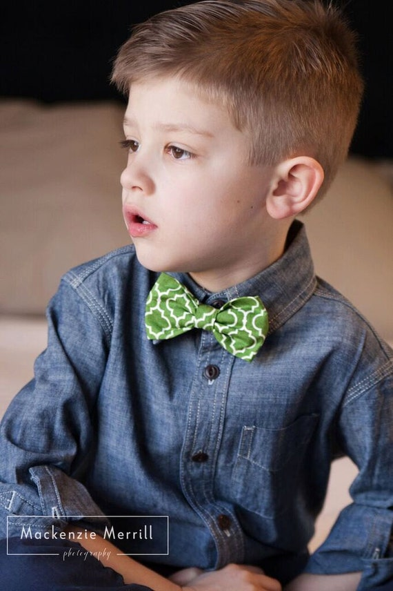 Green Tile Bow Tie - clip on, pre-tied with strap, self- tying - for men or boys