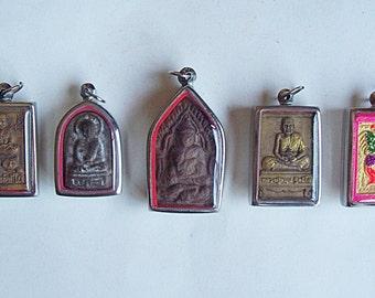5 Thai Buddhist Buddha Clay Amulet Medallions