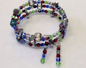Memory Wire Bracelet designed with Red, Blue, Green Chinese crystals,Fire Polished CrystalsWire Wrap Dangle - Chic Boho Jewelry -