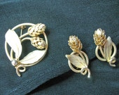 Vintage Circle Pin with Matching Clip Earrings, Graceful Flower Theme, Goldtone