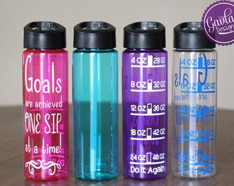 24 OZ Plastic Water Bottle with flip up straw - Time or ounces - Quote - Pink Blue Purple Clear or Black