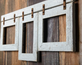 2 barnwood collage white frame 3 4x6 multi opening frame rustic picture frames reclaimed cottage chic collage frame