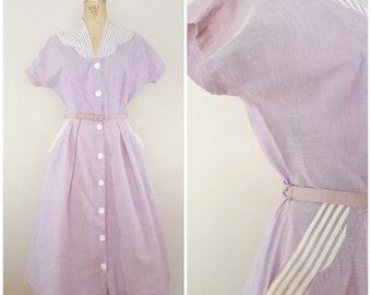 "Vintage 1940s 1950s Dress / Purple Cotton Dress / Stripes / Day Dress / 30"" waist"