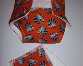 Baby Doll Diaper/wipe -  adorable baby racoons  - See Shop Special - adjustable for many dolls such as bitty baby