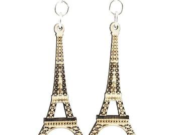Eiffel Tower Laser Cut Wood Earrings
