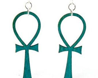 Ankh - Key of Life - Egyptian Symbol - Laser Cut Wood Earrings