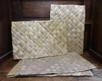 Vintage French Palm Leaf Woven Placemats Place Mats SOLD INDIVIDUALLY circa 1970-80's / English Shop