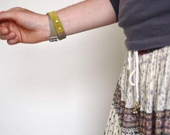 wrap bracelet made with genuine leather - grey and mustard leather wrap bracelet - boho hippie gypsy festival bracelet - gift for her