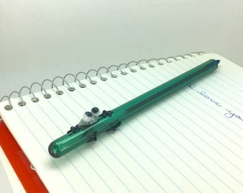 Speckled Gray Frog with Black Legs on a Teal Green Glass Writing Pen- FREE Gift Box- Blue Ink Pen