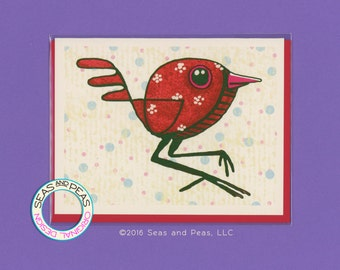 A RED BIRD - Greeting Card - Original Art - Blank Card - Art Card - Blank Greeting Card - Put A Bird On It - All Occasion Card - Item# A002
