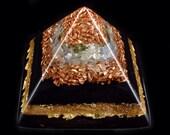 Moldavite, Blue Kyanite Orgonite Pyramid with Tibetan Crystal, Fluorite, Elite Shungite, Tourmaline, Rhodizite, Selenite, Gold Powder