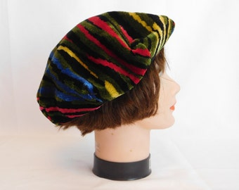 Vintage Union Made Velvet Chenille Beret / Rainbow Tiger Stripe Cap