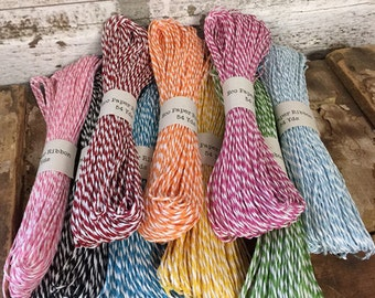 Eco Paper Striped Ribbons - 54 Yards - Assorted Colors - Paper Ribbon - Wrapping - Scrapbooking - Decopauge - Craft Supply - Craft - Eco