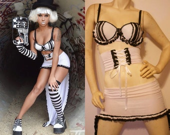 Steampunk Lingerie - Imperium Monochrome Three Piece Lingerie Set - ON SALE