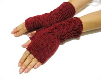 Knit Fingerless gloves | Knitted Fingerless Mittens | Arm Warmers | | Boho Glove | Crimson Fingerless Gloves