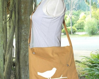 Summer Sale 10% off Yellow cotton canvas messenger bag / shoulder bag / bird messenger /diaper bag / cross body bag