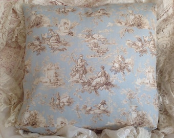 TOILE Pillow cover Soft BLUE and TAN French colors Toile pastoral
