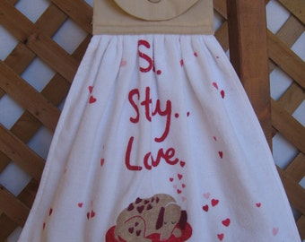 "Puppy Love Hanging Kitchen Towel, Dog Hanging Dish Towel, ""Sit Stay Love"", Saying Kitchen Towels, Dog Lover Gift, Pet Lover SnowNoseCrafts"